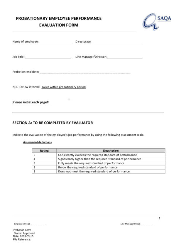 Probationary Employee Performance Form for Employee Evaluation Form Uses