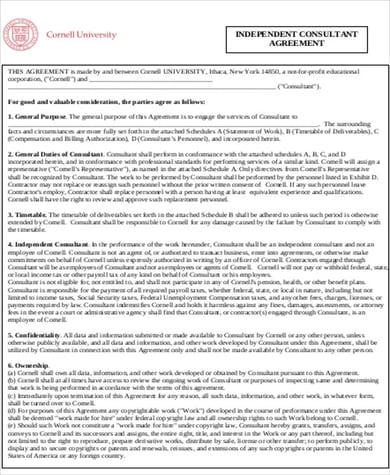 10 Sample Business Consultant Agreements Word PDF 2 For Business Consultant Agreement