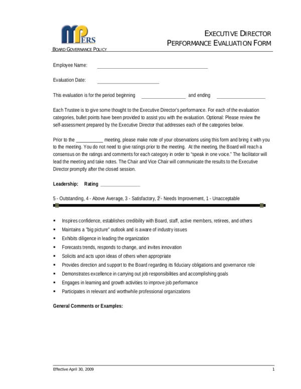 Executive Director Performance Evaluation Form for Employee Evaluation Form Uses