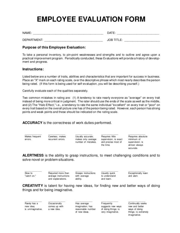 Evaluation Form for Employee Evaluation Form Uses