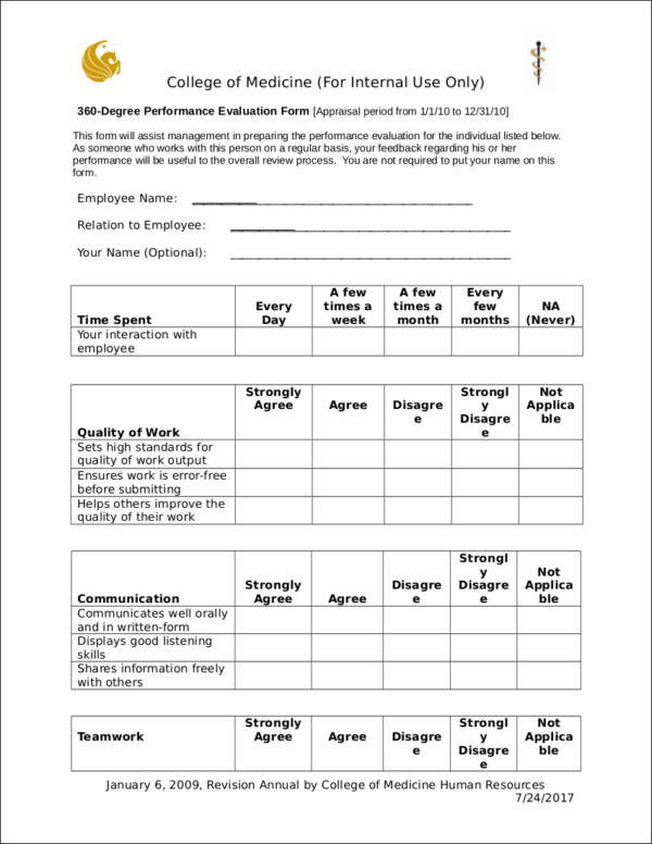 Degree Performance Evaluation Form for Evaluating Employee Performance