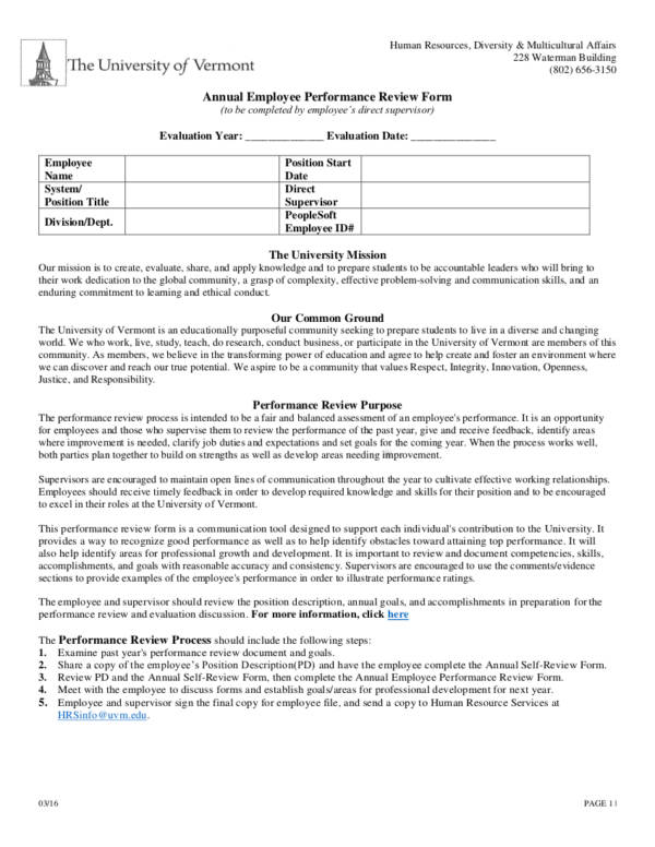 Annual Employee Performance Evaluation for Employee Evaluation Form Uses