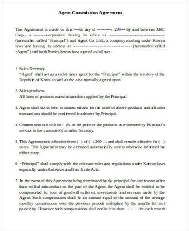 Agent Commission Agreement For Commission Agreement