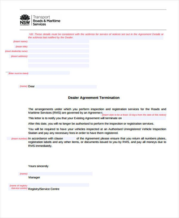 Agreement Termination Letter For Free Sample Agreements