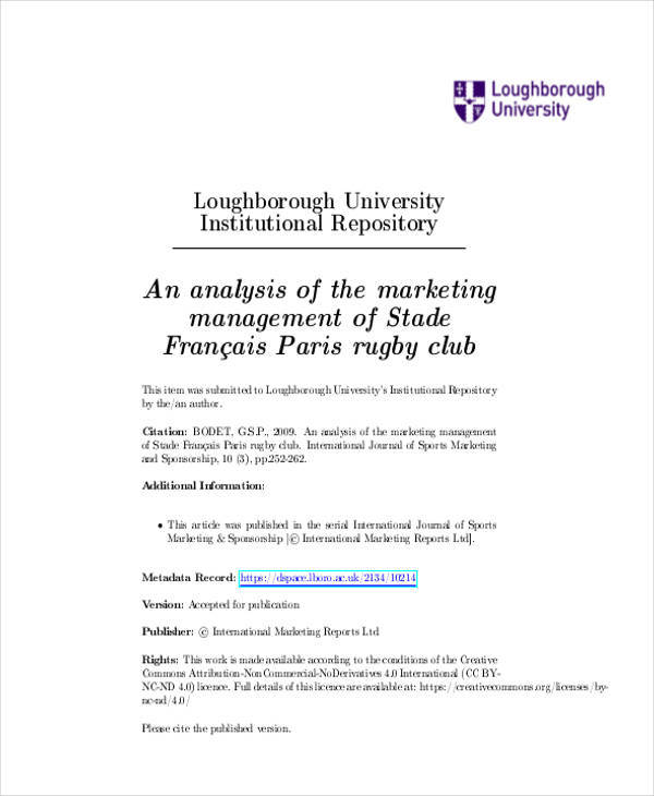 Analysis of Marketing Management for Management Analysis