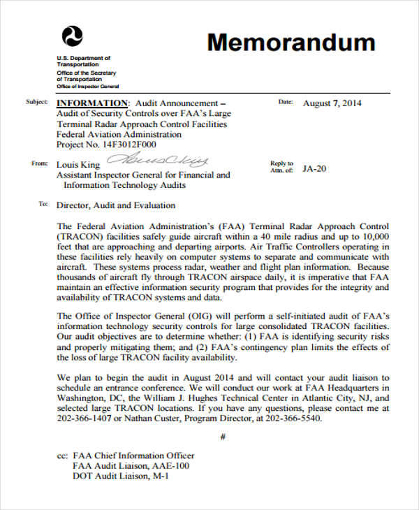 Audit Announcement Memo for Audit Memo