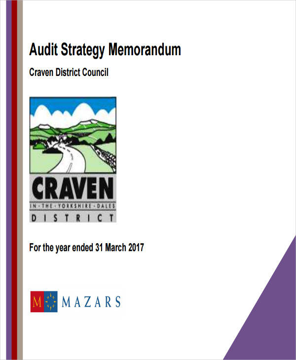 Audit Strategy Memorandum for Audit Memo