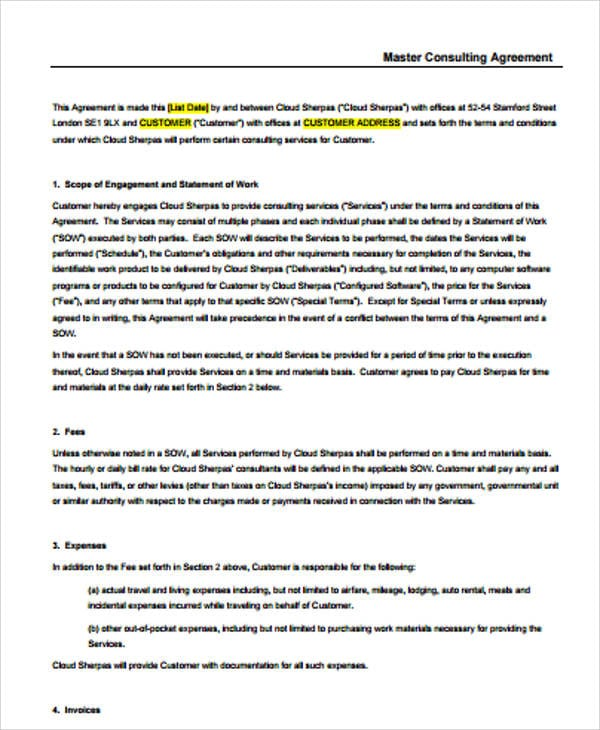 Basic Master Consulting Agreement For Master Consulting Agreement
