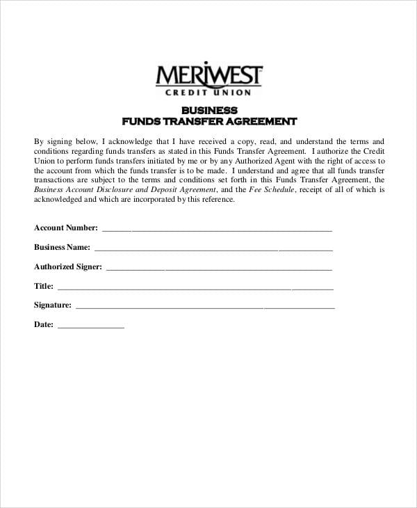 Business Account Funds Transfer Agreement For Business Transfer Agreement