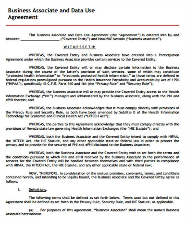 Business Associate And Data Use Agreement For Business Associate Agreement