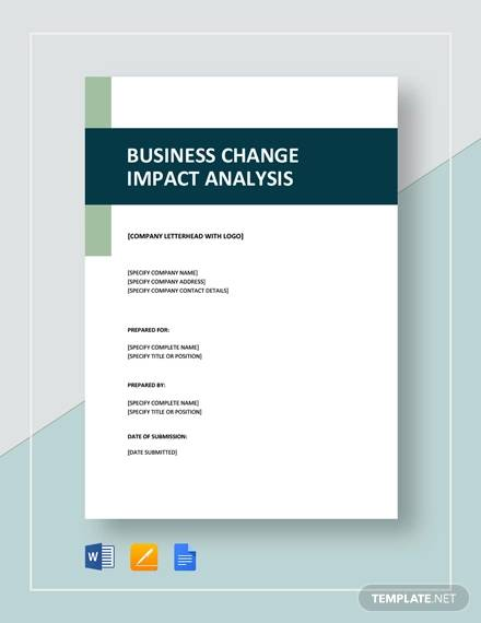 Business Change Impact Analysis Template for Sample Impact Analysis