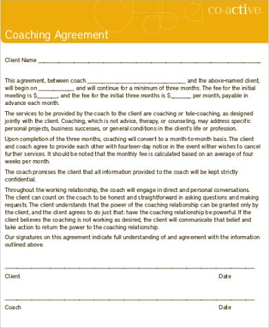 Business Coaching Agreement Contract For Business Coaching Agreement