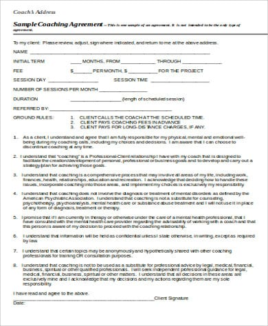 Business Coaching Agreement Form Free For Business Coaching Agreement