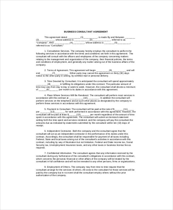 Business Consulting Agreement Form For Consulting Agreement Form