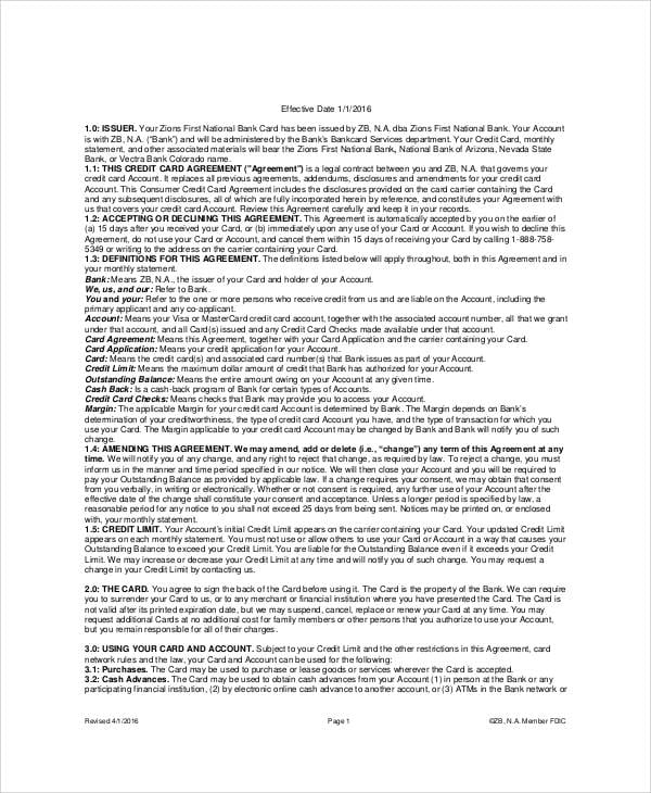 Business Consumer Credit Card Agreement For Business Credit Card Agreement
