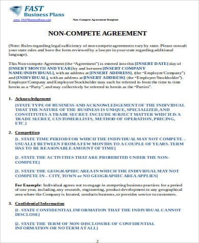Business Non Compete Agreement Form Example For Business Non Compete Agreement