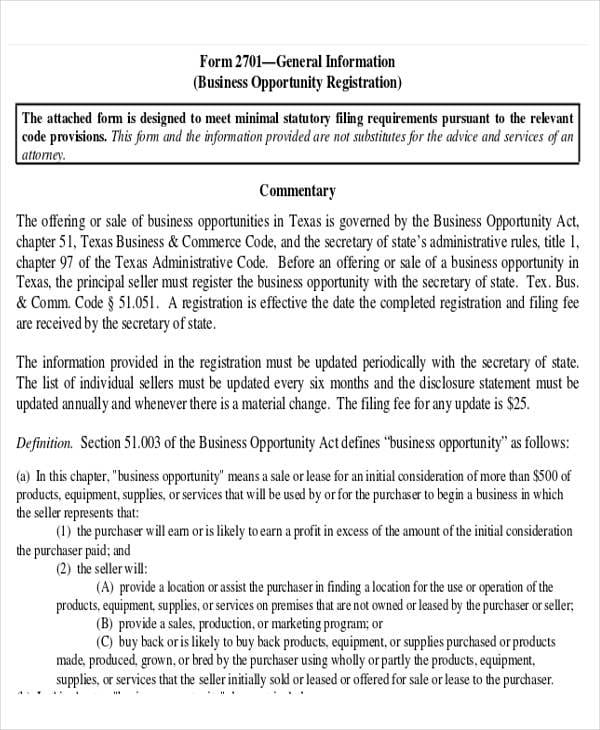 Business Opportunity Sale Agreement Form For Business Agreement Form
