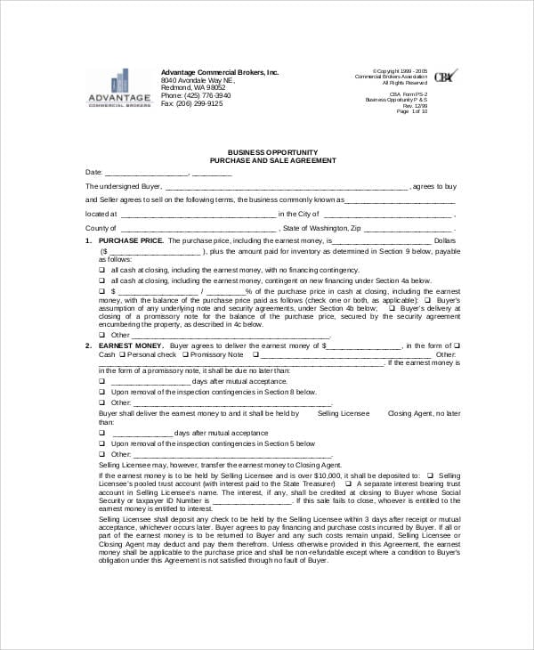 Business Purchase And Sales Agreement For Business Sales Agreement