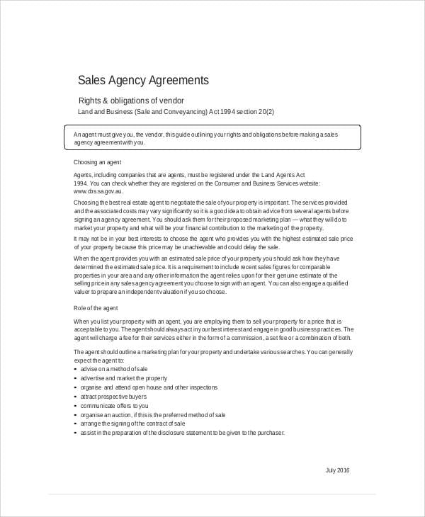 Business Sales Agency Agreement For Business Sales Agreement