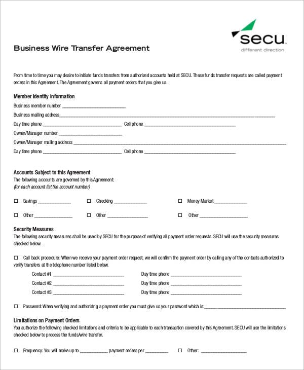 Business Wire Transfer Agreement For Business Transfer Agreement
