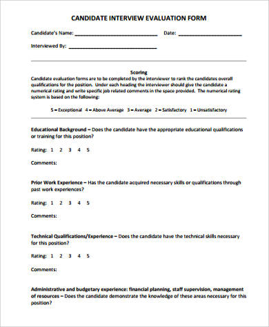 Candidate Interview Evaluation Form PDF for Interview Evaluation Forms