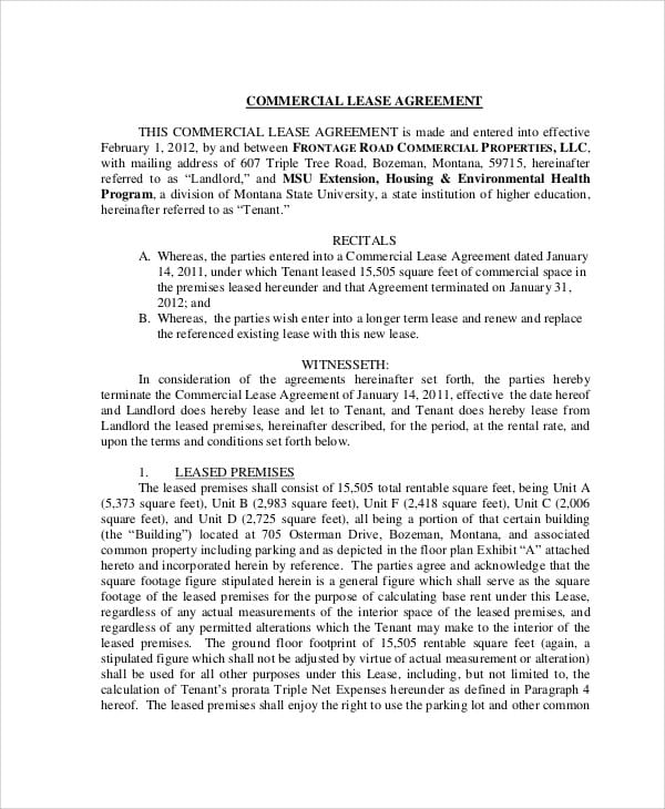 Commercial Lease Agreement Contract For Lease Agreement Contract