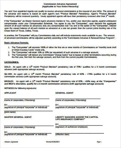 Commission Advance Agreement For Commission Agreement