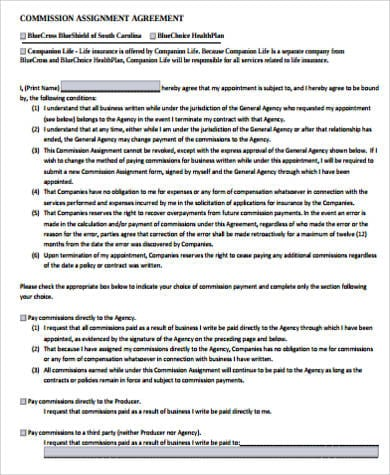 Commission Assignment Agreement For Commission Agreement
