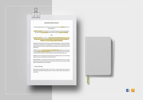 Consulting Contract Word Template To Edit For Student Agreement Contract