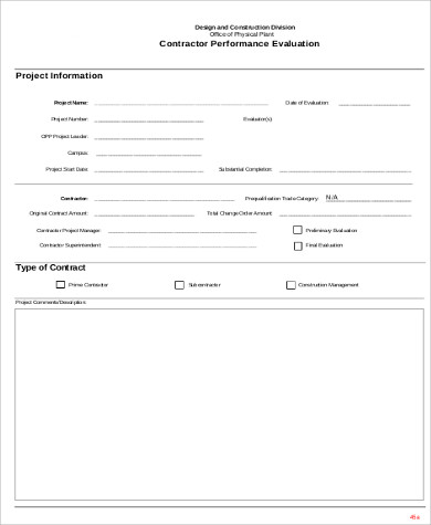 Contractor Performance Evaluation Form for Sample Performance Evaluation Forms