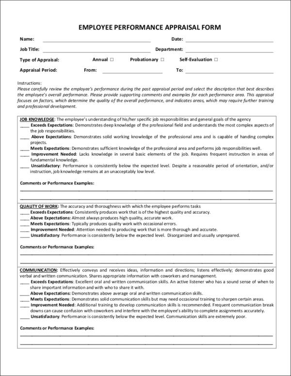 EMPLOYEE PERFORMANCE APPRAISAL FORM for Evaluating Employee Performance