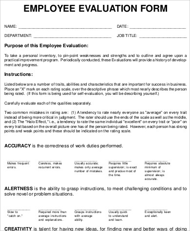 Employee Performance Evaluation Form for Sample Performance Evaluation Forms