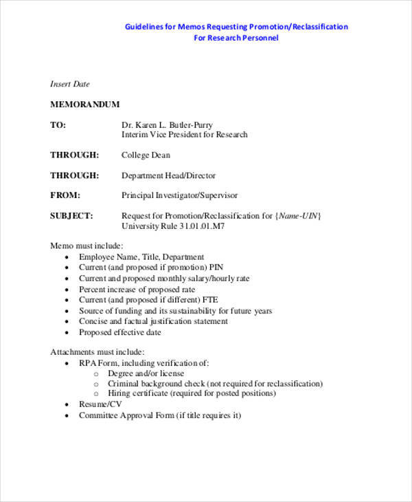 Employee Promotion Memo for Employee Memo Template