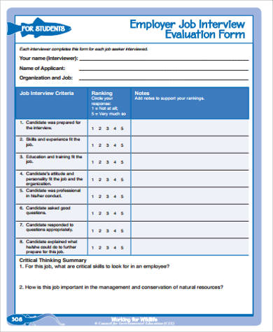 Employer Job Interview Evaluation Form for Interview Evaluation Forms