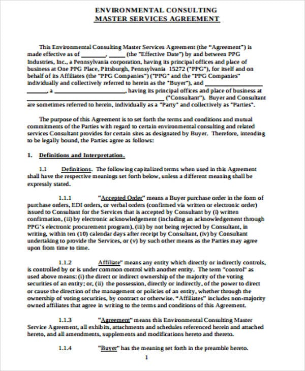 Environmental Master Consulting Agreement For Master Consulting Agreement