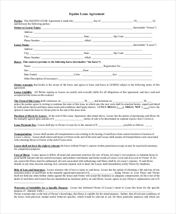 Equine Lease Agreement Contract For Lease Agreement Contract