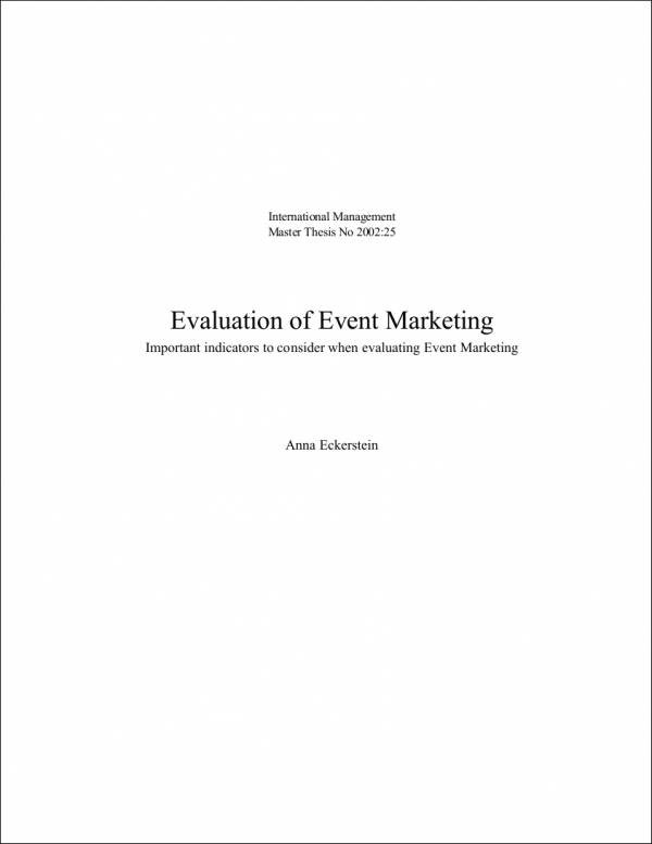 Event Marketing Evaluation Sample for Marketing Campaign Evaluation Samples