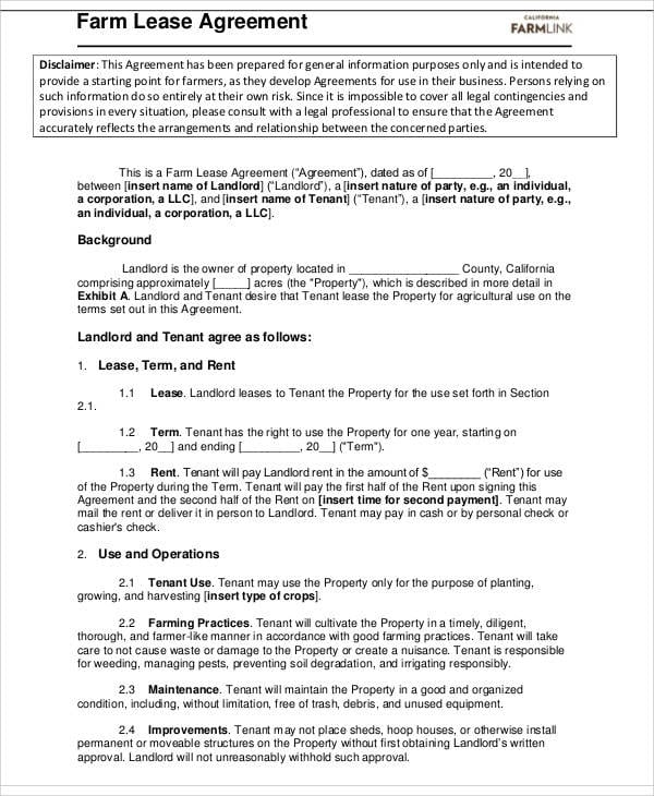 Farm Lease Agreements For Sample Agreements
