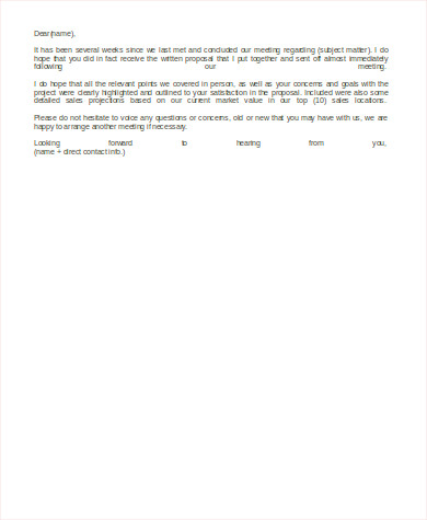 Follow Up Email After Sending Proposal for Follow Up Email