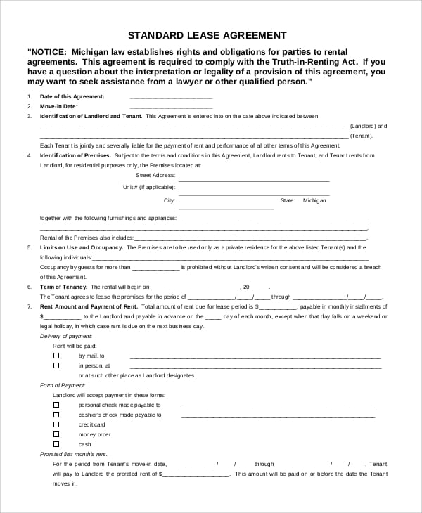 Free Standard Lease Agreement for Business Agreement Format