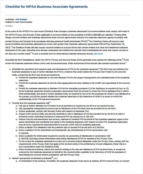 HIPAA Business Associate Agreement Checklist For Hipaa Business Associate Agreement