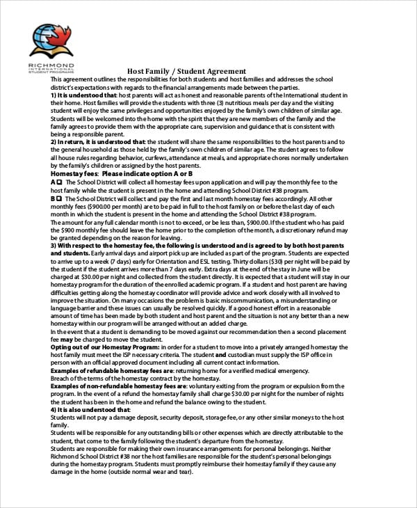 Host Family Student Agreement Contract For Student Agreement Contract