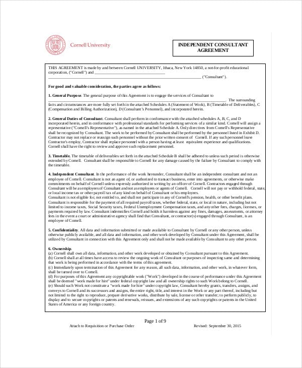 Independent Consulting Agreement Form For Consulting Agreement Form