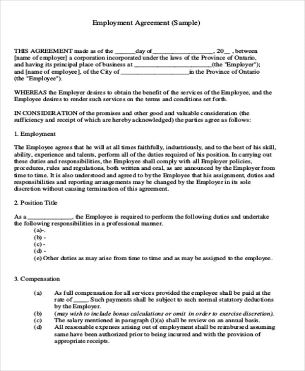 Independent Employee Agreement Contract For Independent Agreement Contract