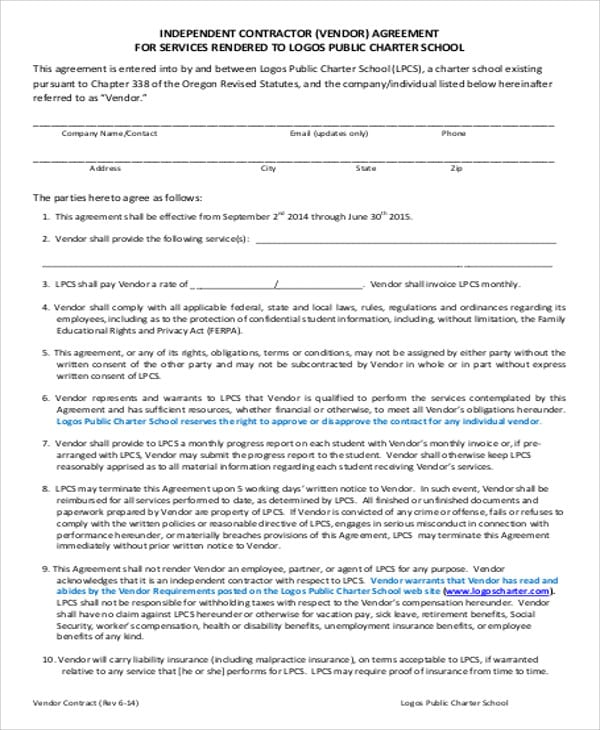 Independent Vendor Contract Agreement For Vendor Contract Agreement