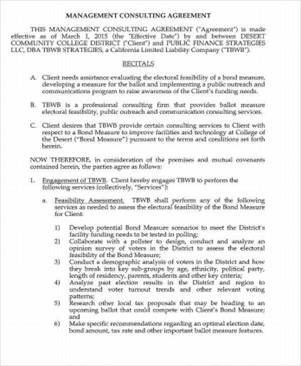 Management Consulting Agreement Example For Management Consulting Agreement