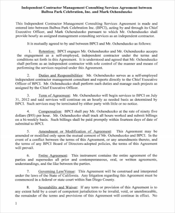 Management Consulting Services Agreement For Management Consulting Agreement