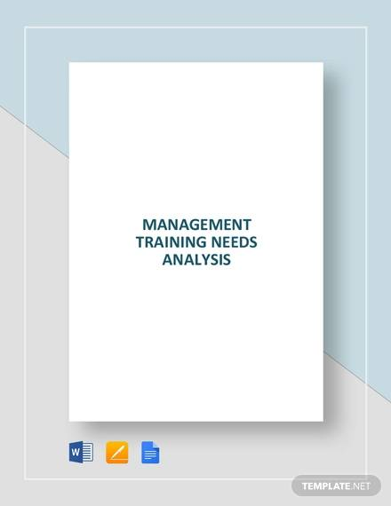 Management Training Needs Analysis Template for Management Analysis Sample