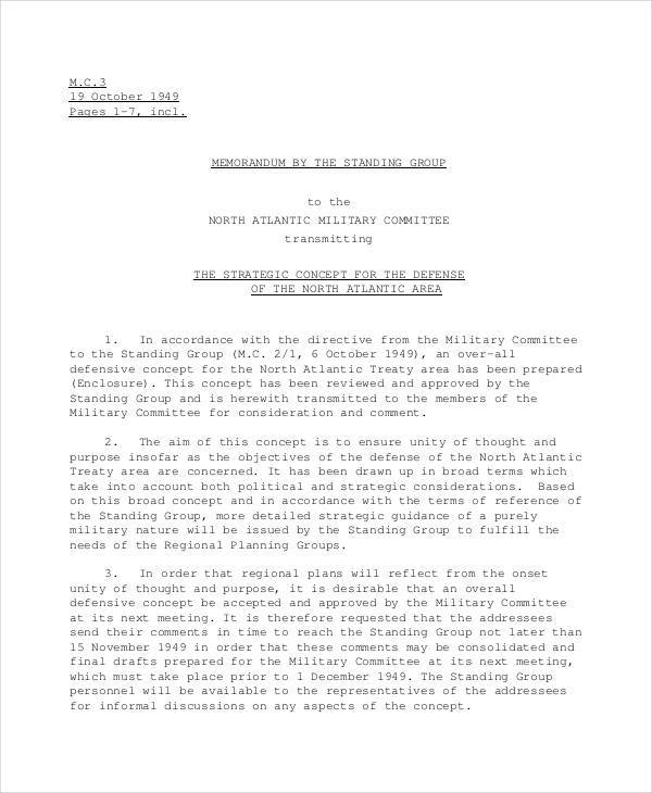 Memo for Military Strategy for strategy memos