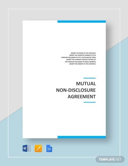 Mutual Non Disclosure Agreement Template For Non Disclosure Agreement Between Companies